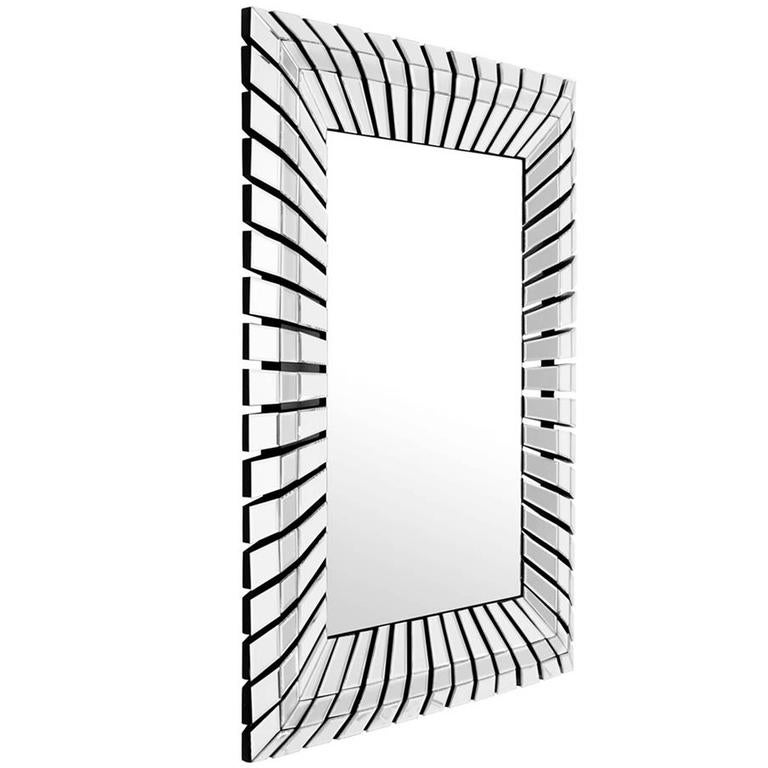 Eclipse Mirror with Polished Stainless Steel and Bevelled Mirror Glass