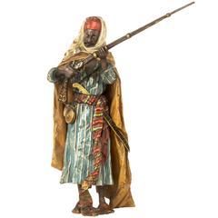 "Austrian Art Nouveau Orientalist Sculpture ""Arabian Soldier"" by Bergman"