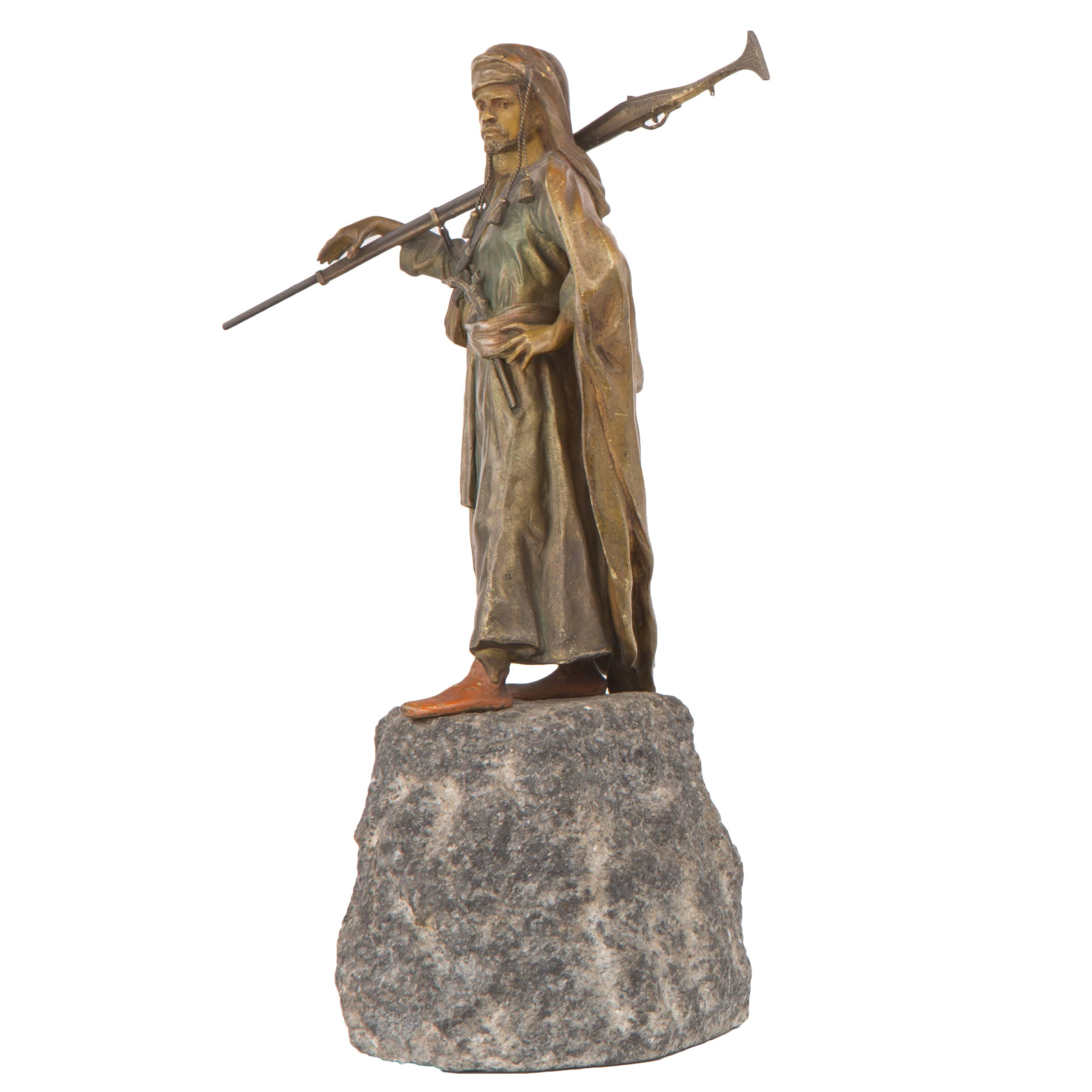 Vienna Bronze of an Arab Soldier by Franz Xavier Bergman