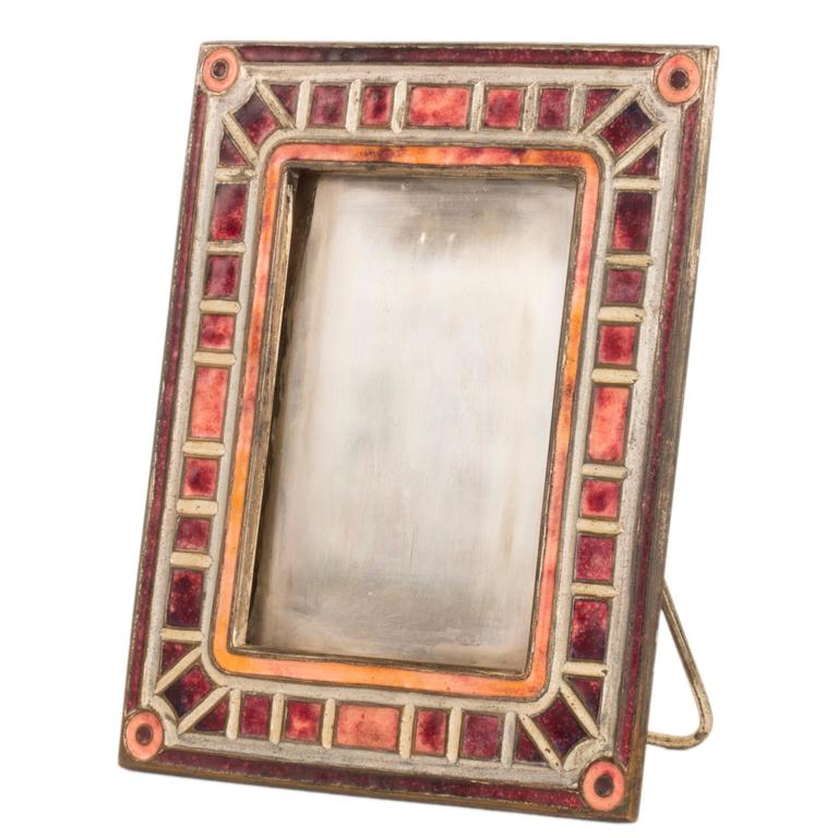 """Art Deco"" Pattern Enameled Picture Frame by Tiffany Studios 1"