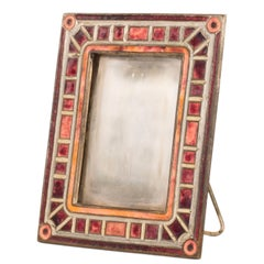 """Art Deco"" Pattern Enameled Picture Frame by Tiffany Studios"