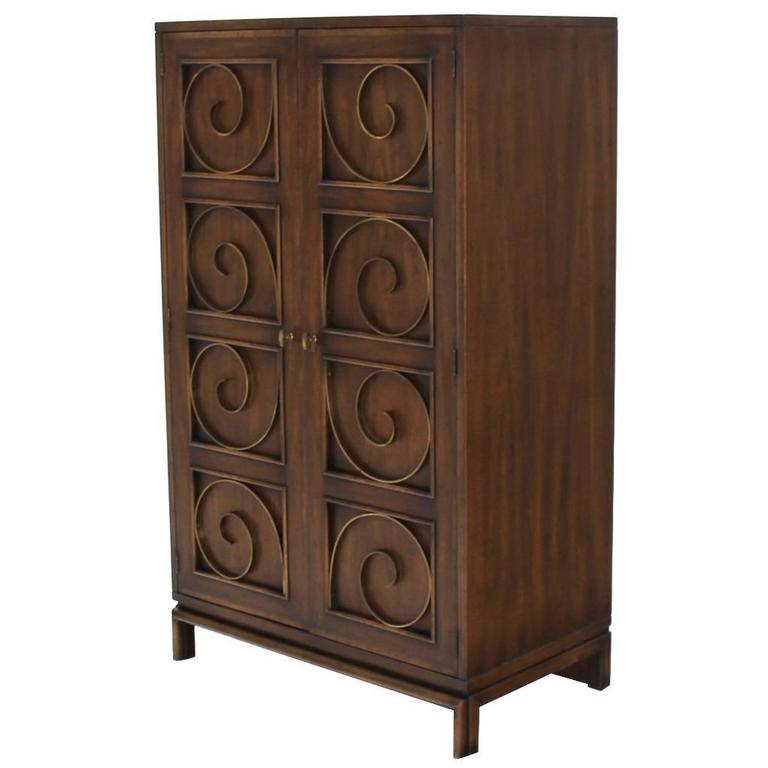 Solid Brass Scrolls Blanket Chest Cabinet For Sale