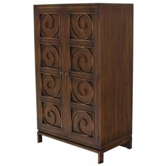 Solid Brass Scrolls Blanket Chest Cabinet