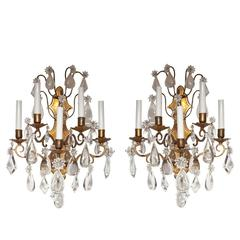 Pair of Gilt Bronze French Louis XV Style Wall Sconces