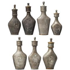 Collection of Seven Rare 18th Century Pewter Baby Nursing Bottles