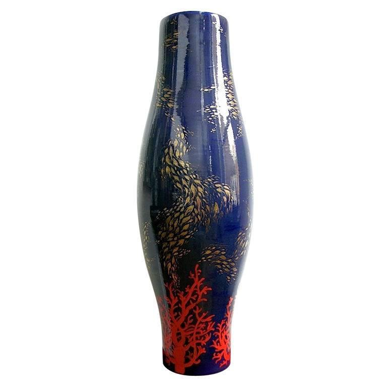 Modern Italian Monumental Gold, Red, Blue Vase by Ceramica Gatti with Sea Deco