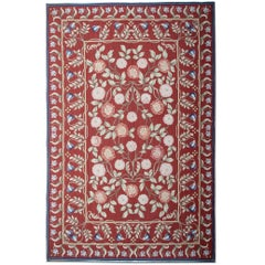 High Quality Floor Area Aubusson Rugs, Hand Woven Wine Red Needlepoint Carpet