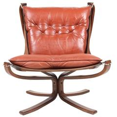 Great Looking Falcon Chair in Red Leather