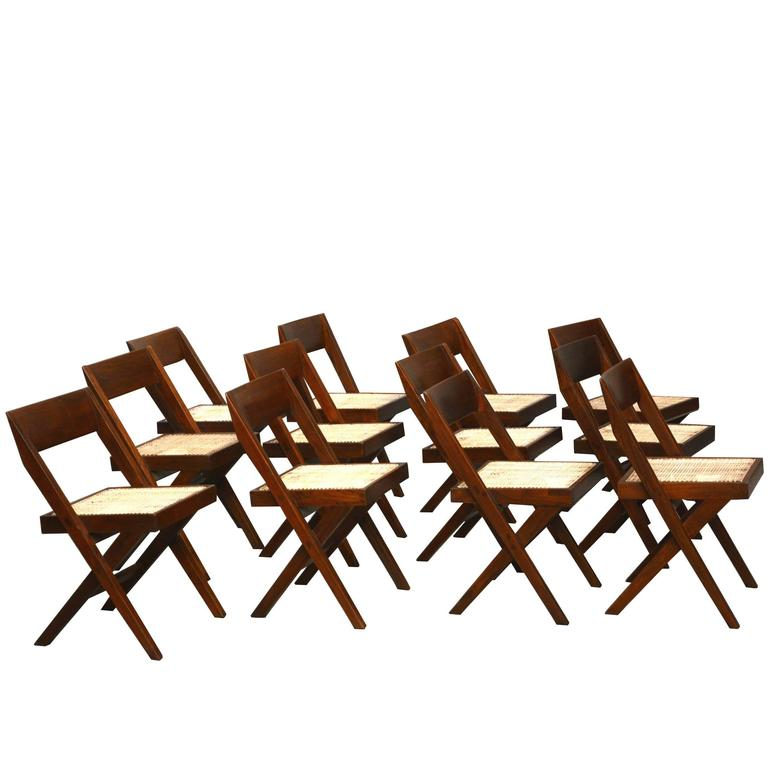 Pierre Jeanneret Unique Set of 12 Library Chairs 1