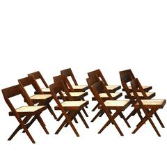 Pierre Jeanneret Unique Set of 12 Library Chairs