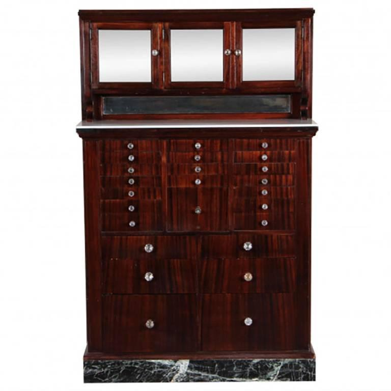 Antique Mahogany Industrial Era Work Cabinet with Opaline Glass Top For Sale
