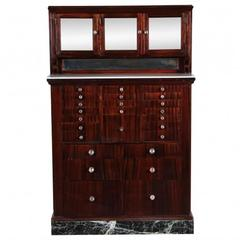 Antique Mahogany Industrial Era Work Cabinet with Opaline Glass Top