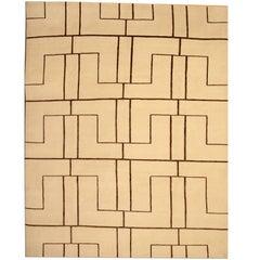 Fine Primitive Contemporary Rug Modern Geometrical Design Carpet from Nepal