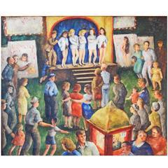 """Carnival,"" Vivid Painting of American Scene, Social Realism, 1945"