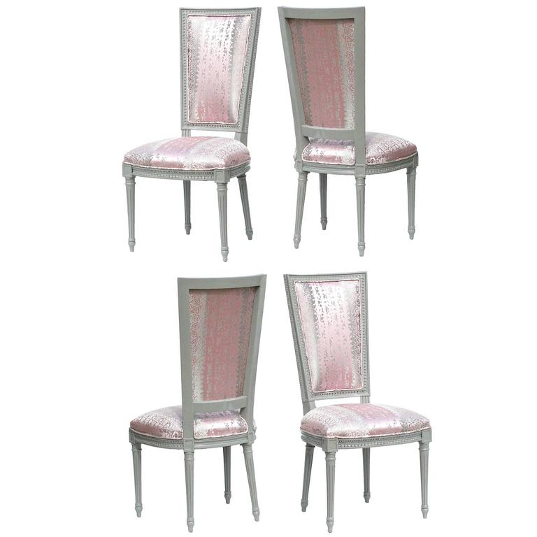 Louis XVI High Back Dining Chairs In Donghia, Set Of 4 For Sale