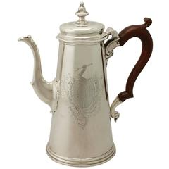 Antique 1730s George II Sterling Silver Coffee Pot