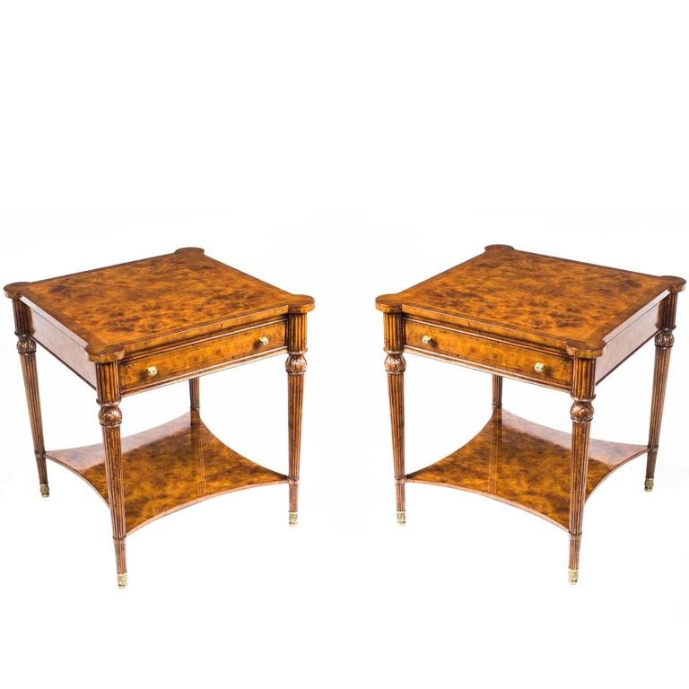 Fab Pair Of Burr Walnut Side Tables With Slides And Drawers For Sale - Walnut side table with drawer