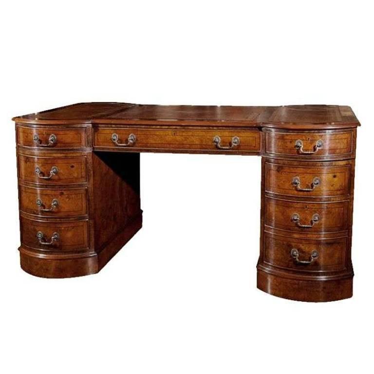 Custom walnut shaped top partners desk for sale at 1stdibs for Unique desks for sale