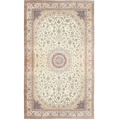 Palace Size Fine Silk and Wool Persian Nain Carpet. Size: 20 ft 6 in x 35 ft