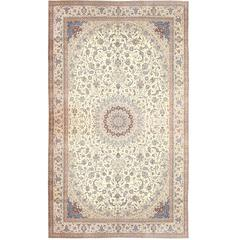 Palace Size Fine Silk and Wool Persian Nain Carpet