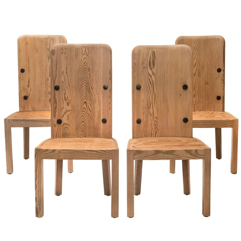 Axel-Einar Hjorth, Set of 4 Swedish High-Back Pine Lovö Chairs For Sale