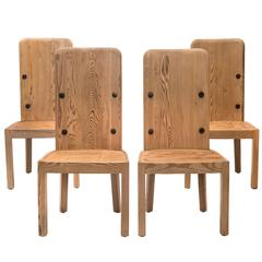 Axel-Einar Hjorth, Set of 4 Swedish High-Back Pine Lovö Chairs