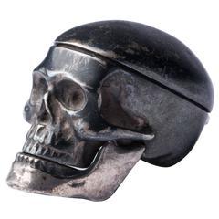 19th Century English Memento Mori Skull Snuff Container