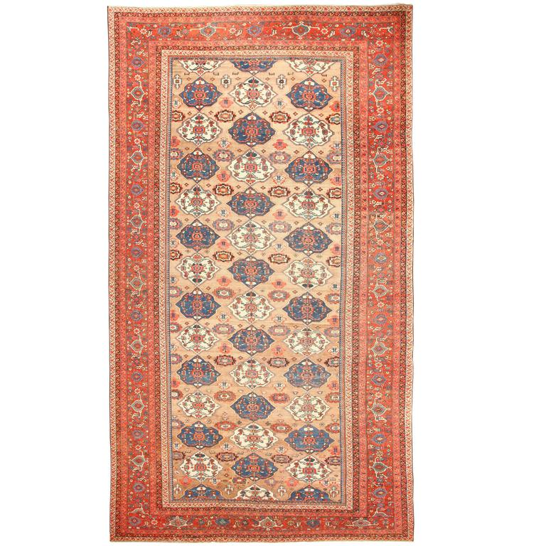 Large Antique Persian Bakshaish Rug