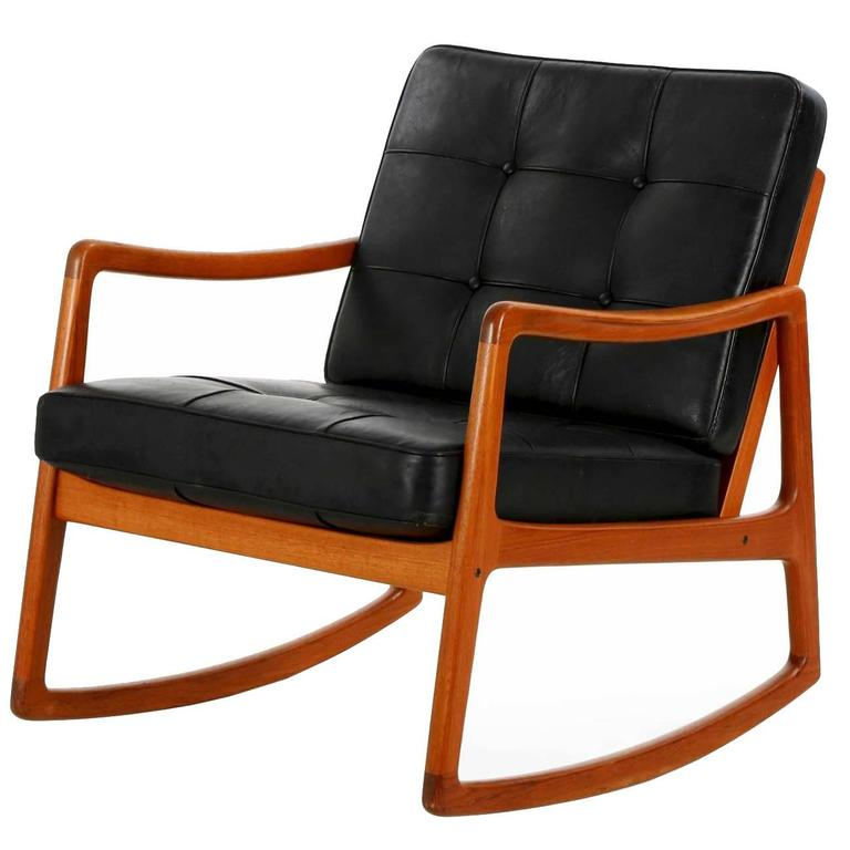 Danish Modern Sculpted Teak And Leather Rocking Chair By Ole Wanscher For  Sale
