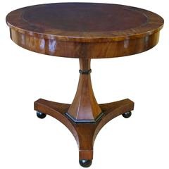 Richly-Patinated Austrian Biedermeier Walnut Center Table with Inset Leather Top