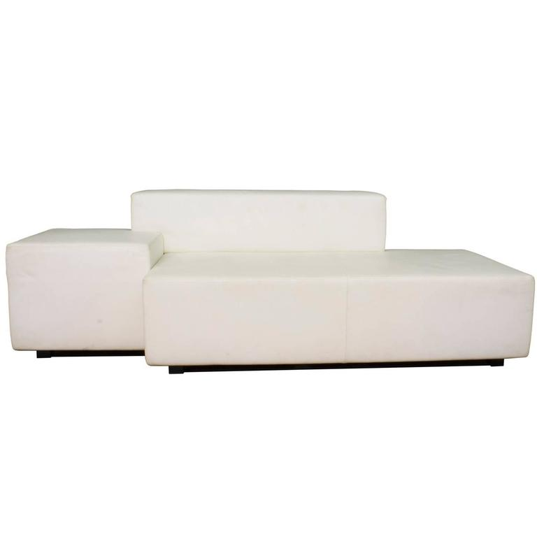 Attractive White Leather Isola Two Seat Sofa By Poltrona Frau, Italy Modern 1