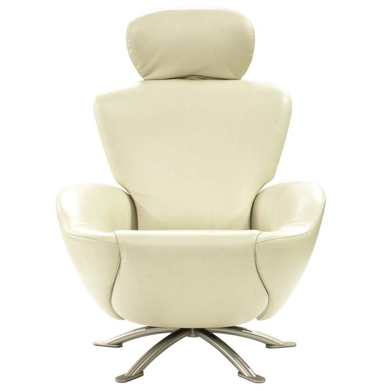 white leather dodo armchair recliner by toshiyuki kita for. Black Bedroom Furniture Sets. Home Design Ideas