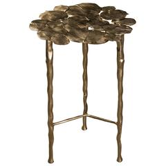French Modern Cast Brass Decorative Leaves Side Table