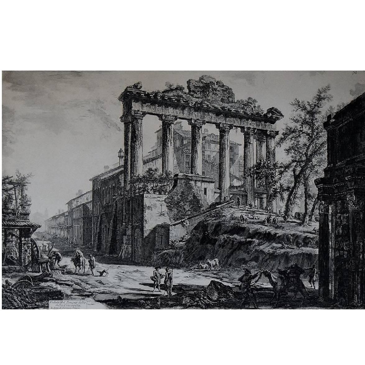 Engraving, Veduta del Tempio della Concordia detto, Piranesi
