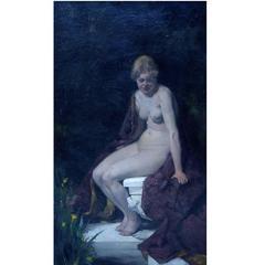 J. de Jong, Oil on Board, Young Nude Woman, circa 1900