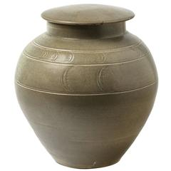 green ceramic Stoneware Pot by Antoine de Vinck, circa 1980