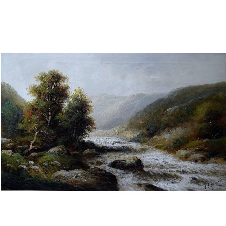 F. L. Gamerith, British Artist, circa 1900, Oil on Canvas, Landscape with River For Sale
