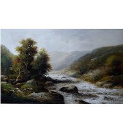 F. L. Gamerith, British Artist, circa 1900, Oil on Canvas, Landscape with River