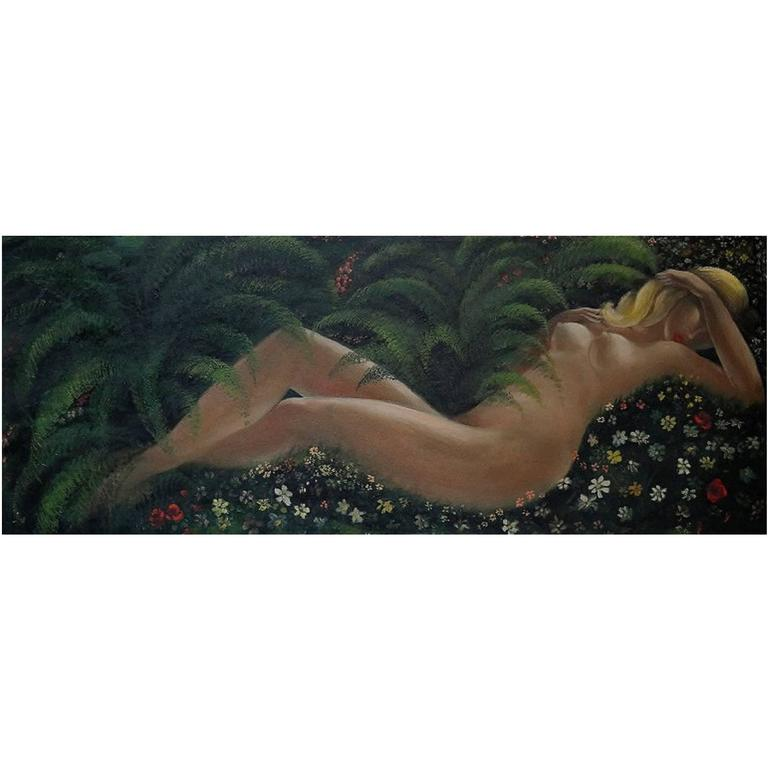 Lying Naked Woman, Large Oil on Panel, Mid-20th Century