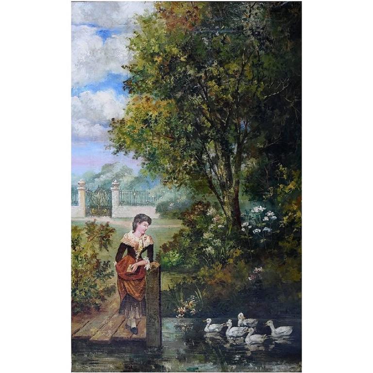 Unknown Artist, Park Landscape, Oil on Canvas, circa 1900 For Sale