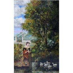 Unknown Artist, Park Landscape, Oil on Canvas, circa 1900