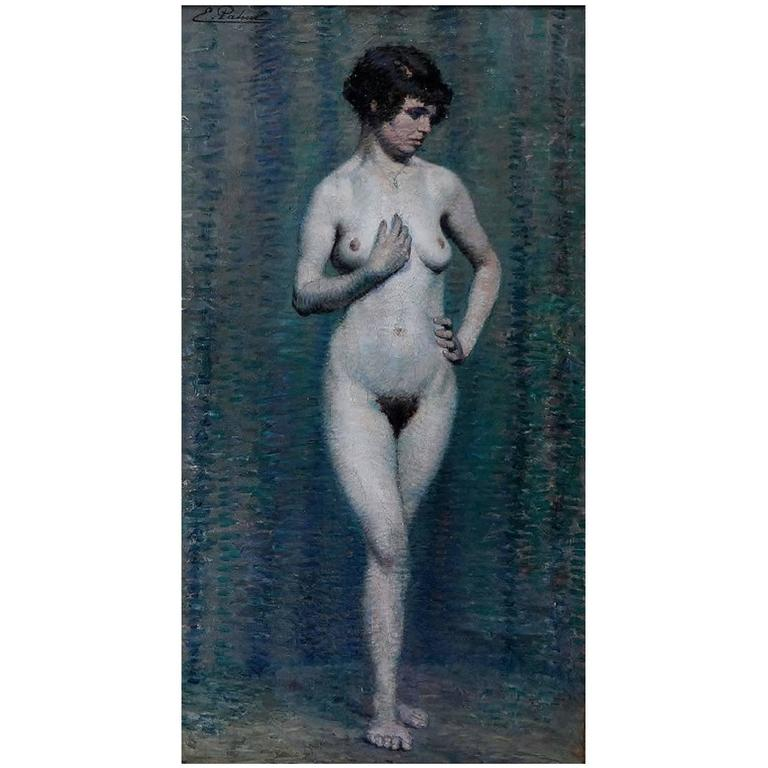 Emile Patoux, Belgian Artist, Naked Portrait of Young Woman, 1930s For Sale