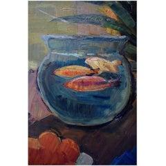 Carl Fischer Still Life with a Bowl of Goldfi