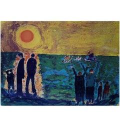 Jens Søndergaard, Coastal Landscape with Figures, Colored Lithograph