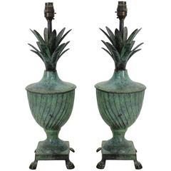 Pair of Bronze Flambe Lamps