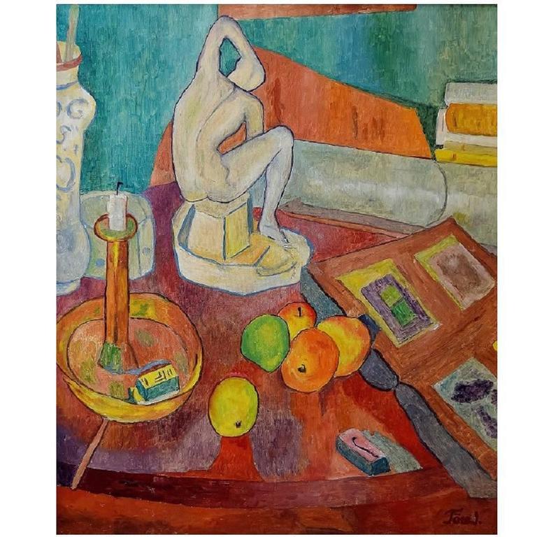 Modernist Still Life, Oil on Canvas, Mid-20th Century