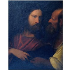 Unknown Artist, 19th Century Oil on Canvas, Biblical Motif after Titian