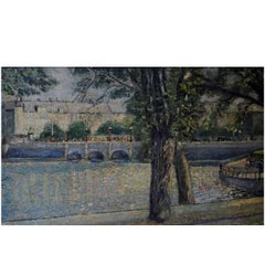 Queen Louise's Bridge, Copenhagen, Oil on Canvas, circa 1930s