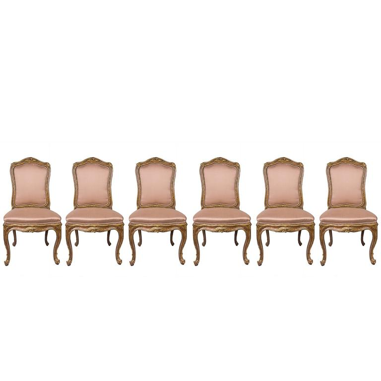 Set of Six 19th Century French Carved and Gilt Upholstered Side Chairs