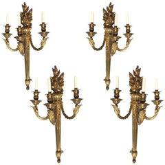 Set of Four Louis XVI Style Gilt Bronze Wall Sconces